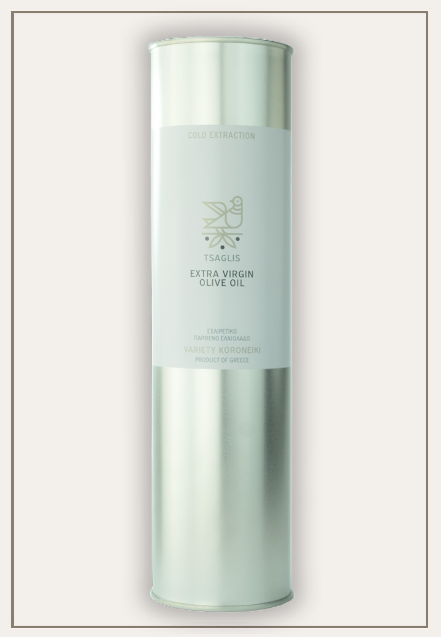 Tsaglis Extra Virgin Olive Oil - Kalamata - Tinplate cylinder 1 lt