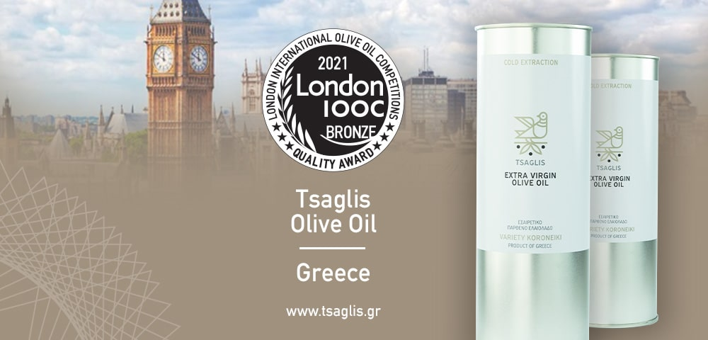 Tsaglis Extra Virgin Olive Oil Quality Award - London International Olive oil Competitions - LIOOC 2021